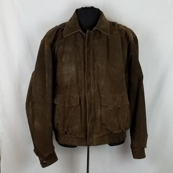 ed629950a Burks Bay Suede Leather Bomber Jacket Mens Sz XL